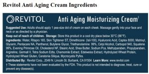 Revitol Anti Aging cream ingredients
