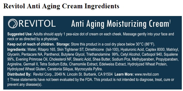 Revitol Anti Aging cream ingredients